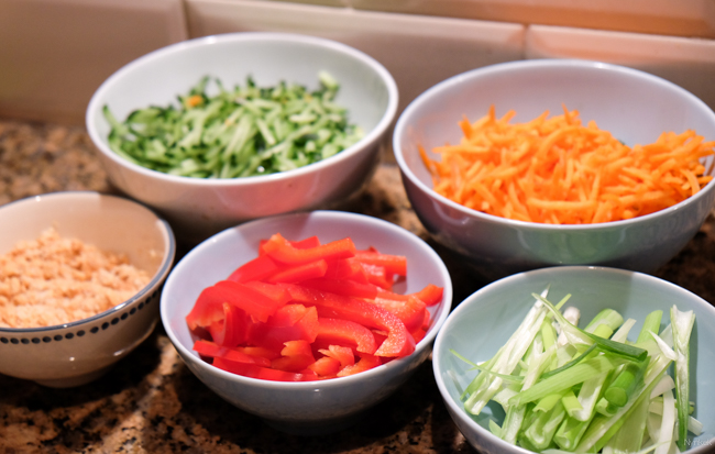 Recept Spring Rolls - alle groente in bakjes