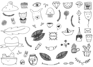 Gratis printbare zwart-wit stickers