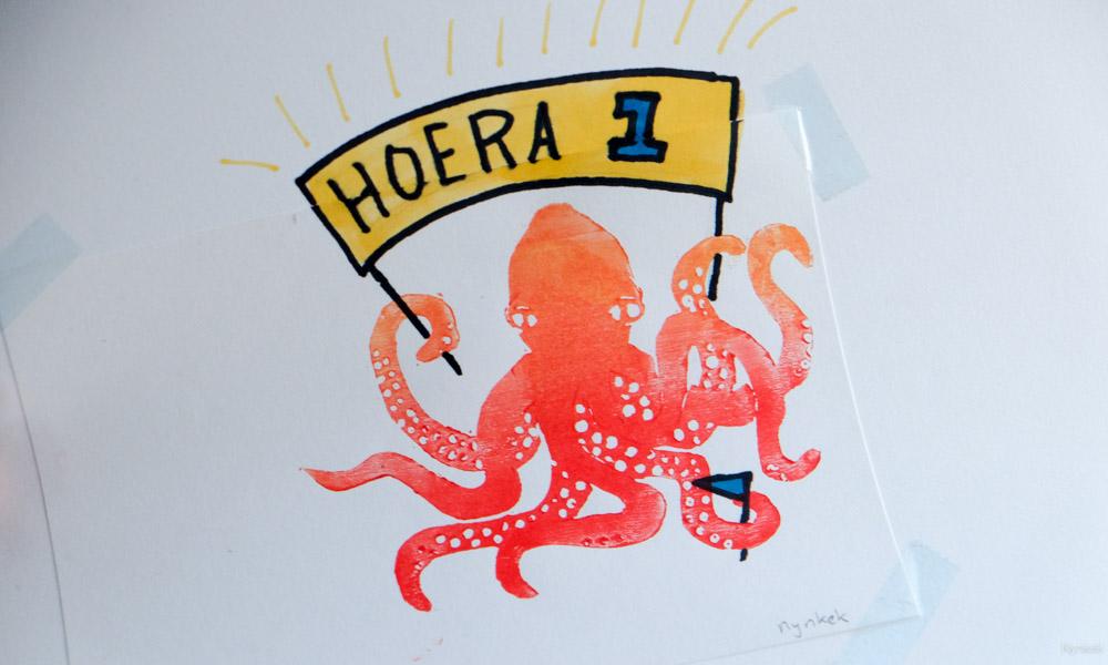 Hoera feest. 1 jaar! Octopusprint