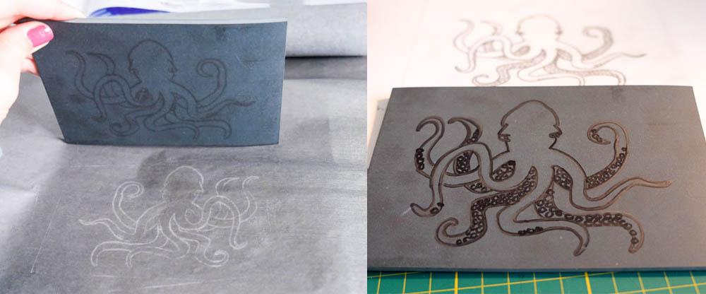 Stap 2. Transfer je tekening met behulp van carbonpapier op het linoleum