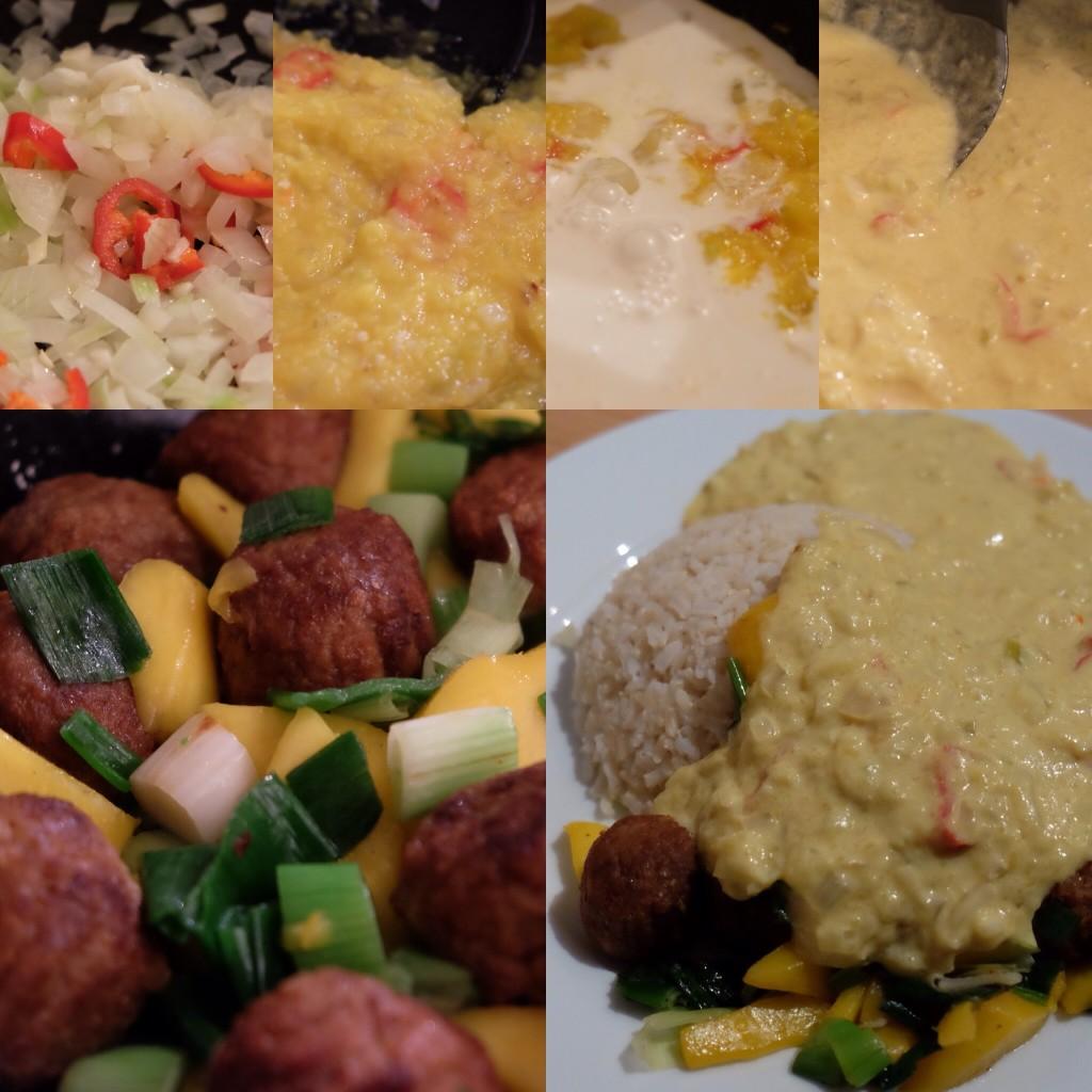 Verhit 2 eetlepels olie in een pan en fruit de ui, knoflook en rode peper 2 tot 3 minuten. Voeg de mangopuree toe en bak nog 1 minuut. Roer de kokosmelk erdoor en warm de saus zachtjes door. Voeg zout en peper naar smaak toe.