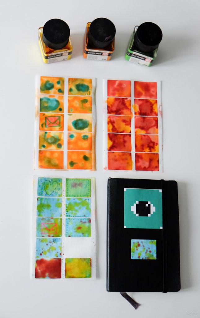 Ecoline stickers maken op etiketten, voorbeeld op Pims notitieboek