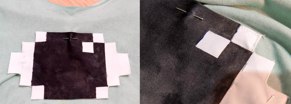 Pin je print vast en naai het langs de randen met de juiste draadkleur.
