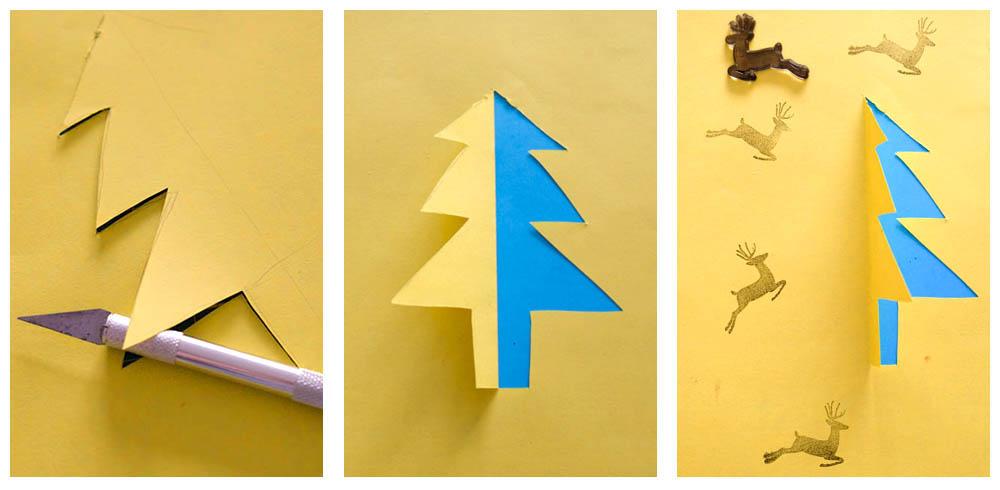 Hoe snijd je een kerstboom uit papier