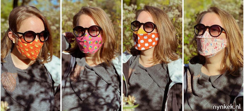 Verschillende mondmasker modellen die ik geprobeerd heb voordat ik het beste mondkapjes voor brildragers vond (rechter) waarbij de bril niet beslaat.